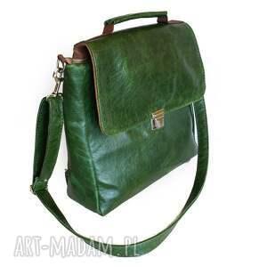 teczki torba plecak / skóra zielona pull
