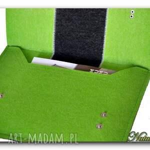 Natali zielone teczki torebka torba pokrowiec teczka filc hand