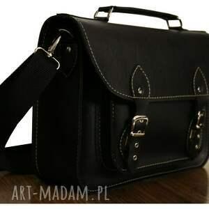 teczki satchel torba z czarnej ekoskóry na laptopa