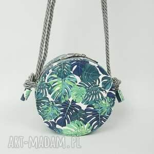 niebieskie teczki listonoszka urocza okrągła w palmy