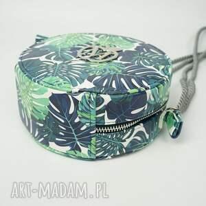 torebka teczki zielone urocza okrągła listonoszka w palmy