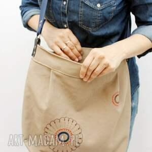 beżowe torebki haft bawełniana z haftem
