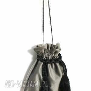torebki aksamitna bbag pouch szary torebka asksamitna