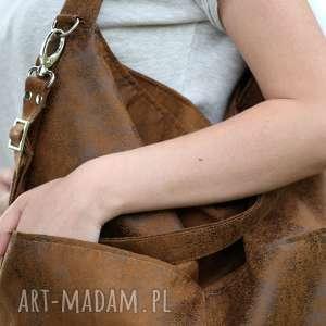 handmade torebki brązowa torba w kształcie worka