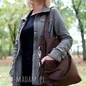 atrakcyjne torebki torba brązowa z zamszu