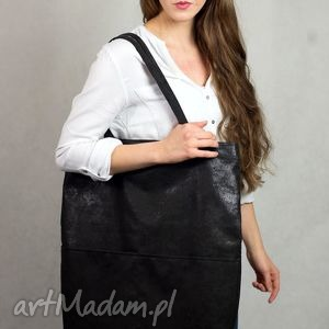 torebka torebki czarna duża torba shopper z zamszu
