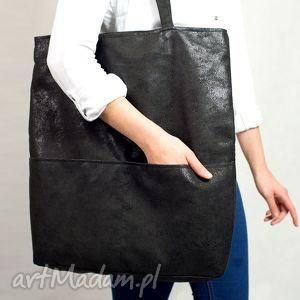atrakcyjne torebki torba czarna duża shopper z zamszu