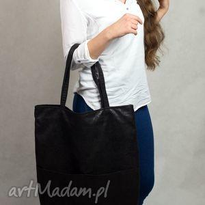 torebki torebka czarna duża torba shopper z zamszu