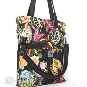 czarna torebki torba w kwiaty z kieszeniami
