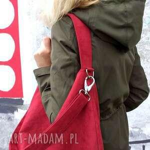 oryginalne torebki duża czerwona torba worek z zamszu