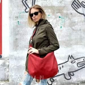torebki duża czerwona torba worek z zamszu