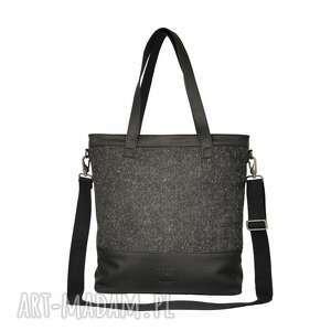 eleganckie torebki torba duża czarna z matowej skóry