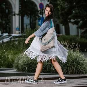 torba-turkus-paski torebki duża szara zamszowa torba turkusowe