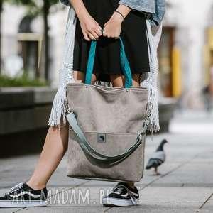 turkusowe torebki szara-zamszowa-torba duża szara zamszowa torba