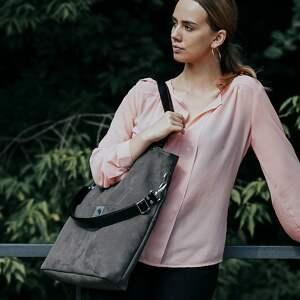 eleganckie torebki wodoodporna duża szara zamszowa torba