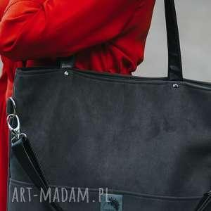 torebki z kieszeniami duża szara zamszowa torba
