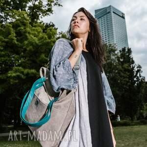torebki torba-turkus-paski duża szara zamszowa torba turkusowe