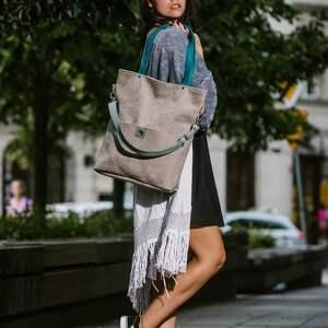 torebki szara-zamszowa-torba duża szara zamszowa torba turkusowe
