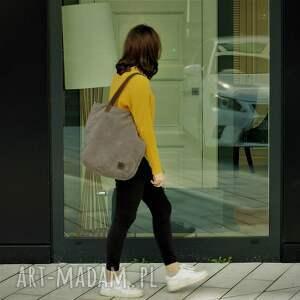 ręcznie wykonane torebki torba duża szarobrązowa na zamek