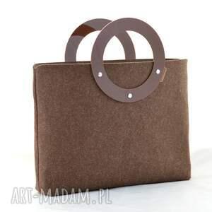torebki: Duża torebka z filcu i plexi - minimalistyczna - brązowa