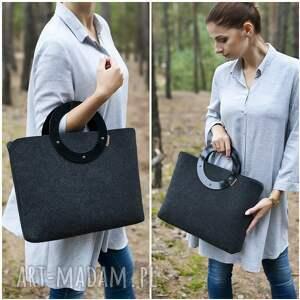 torebka torebki duża z filcu i plexi