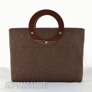 torebki: Duża torebka z filcu i plexi - minimalistyczna - brązowa torba