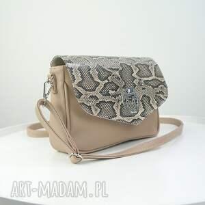 ręcznie robione torebki ekoskóra elegancka listonoszka beżowy odcień
