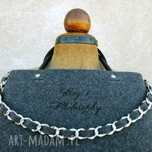 torebki torebka filcowa grafitowa czarna tote chain