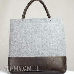 torebki torebka filcowa szara brązowa tote simple