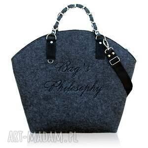 ręcznie wykonane torebki torebka filcowa szara czarna hobo