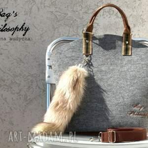 wyjątkowe torebka filcowa szara brązowa hobo