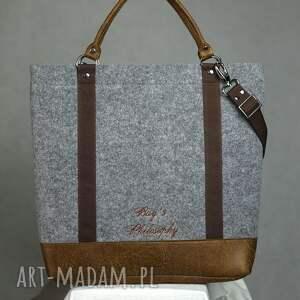 ręcznie wykonane torebki torebka filcowa szara brązowa tote
