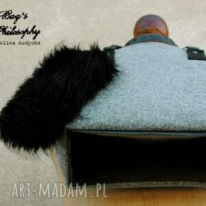 z personalizacją torebki filcowa szara czarna torebka hobo