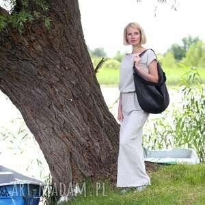 handmade torebki czarna grafitowa torba worek z zamszu