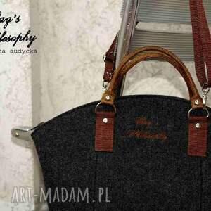 filc torebki pomarańczowe shopper bag w stylu folk z kitą