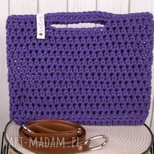 ręcznie wykonane torebki szydełko looped śliwka