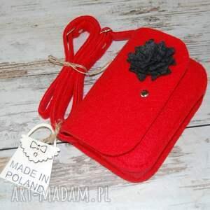 czerwone torebki filc malutka torebka z filcu