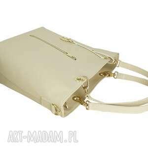 44f4be075ffca efektowne torebki - manzana kuferek złote dodatki hot beż