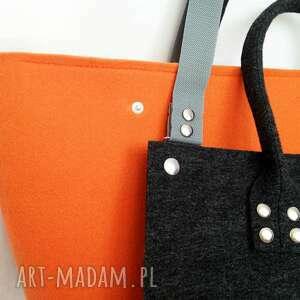 pomarańczowe torebki filc nowość!!! officefelt - duża torba