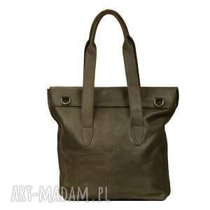 torebka torebki oliwkowa torba z klapką ze skóry