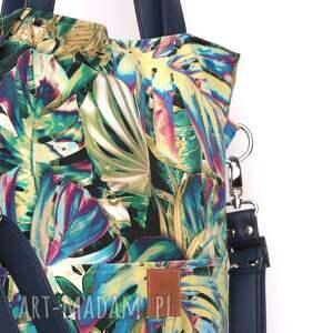 torebki: Oryginalna torba w tropikalne liście monstery - wzorzysta plażowa