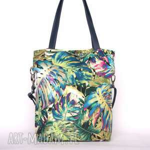 torebki: Oryginalna torba w tropikalne liście monstery - wzorzysta prostokątna
