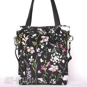 torebki pojemna piękna czarna torebka w kwiatowy