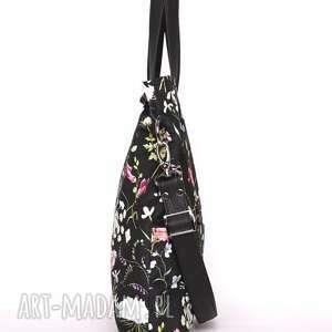 torebki: Piękna czarna torebka w kwiatowy wzór - łąka - jesienna pojemna
