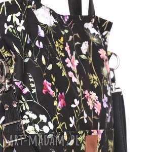 torebki: Piękna czarna torebka w kwiatowy wzór - łąka - jesienna prostokątna