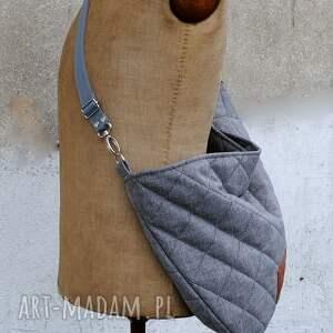 680a9b2733bba pikowana popielata torba worek z regulowanym paskiem - bags