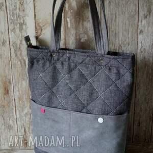 c6d1a7197806d pikowana torba w szarości - hand made - happyart
