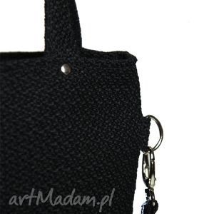 torebki czarna prostokątna torebka z grubej