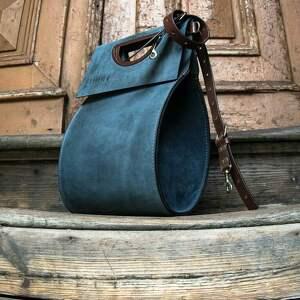 torba do ręki torebki niebieskie ręcznie wykonana skórzana