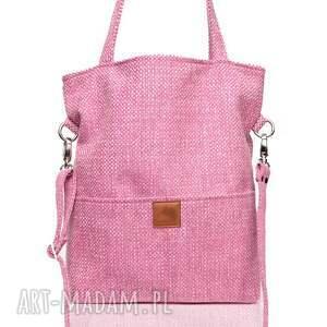 plecionka torebki różowa torba a4 z grubej plecionki